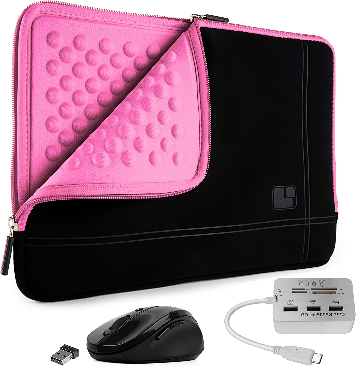 Shock Absorbing Padded Laptop Sleeve, USB Hub, Mouse for Dell Inspiron 14 5400 5406 4790 7405, Latitude 14 3410 5490 14-inch (Pink)