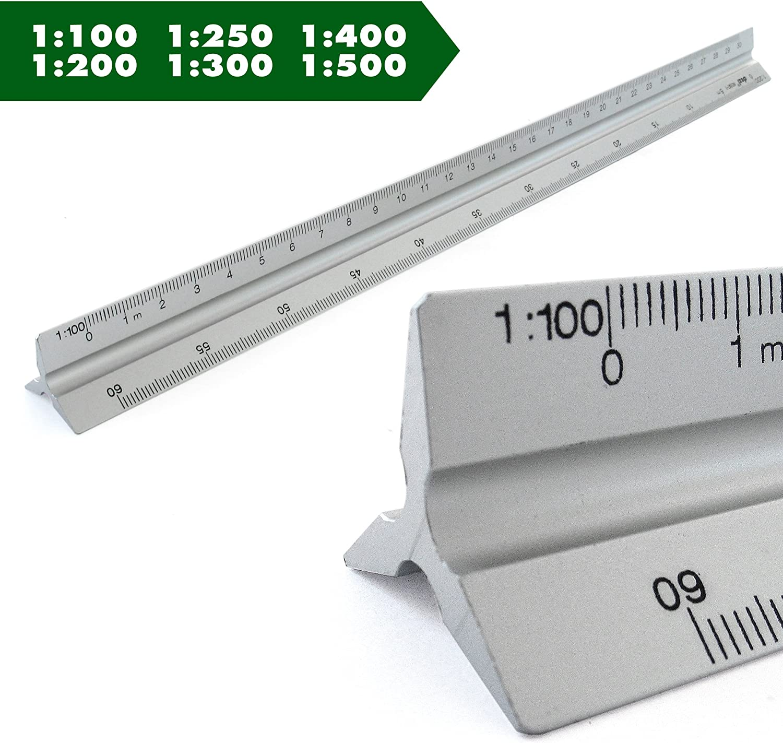 30cm lang Dreieckig Ma/ßstab 1: 25 1: 150 1: 100 1: 75 Ma/ßstab Lineal Alu Dreikantlineal Dreikantma/ßstab Scale Ruler 1: 20 1: 50