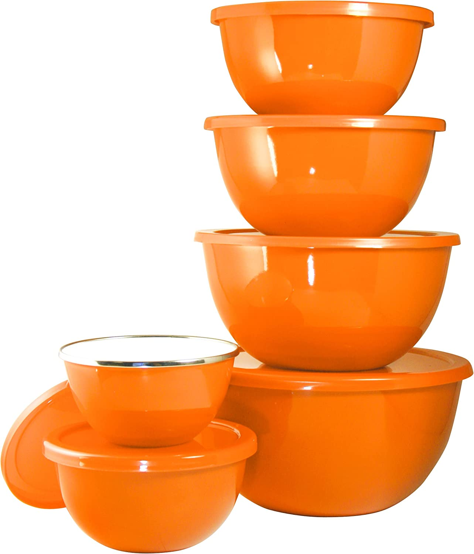 Calypso Basics by 12-Piece Enamel on Steel Bowl Set With Airtight Lids Orange
