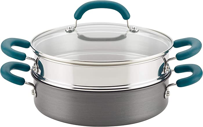 Rachael Ray 81151 Create Delicious Hard Anodized Nonstick Multi-Pot/Steamer Set, 3 Piece, Gray With Teal Handles