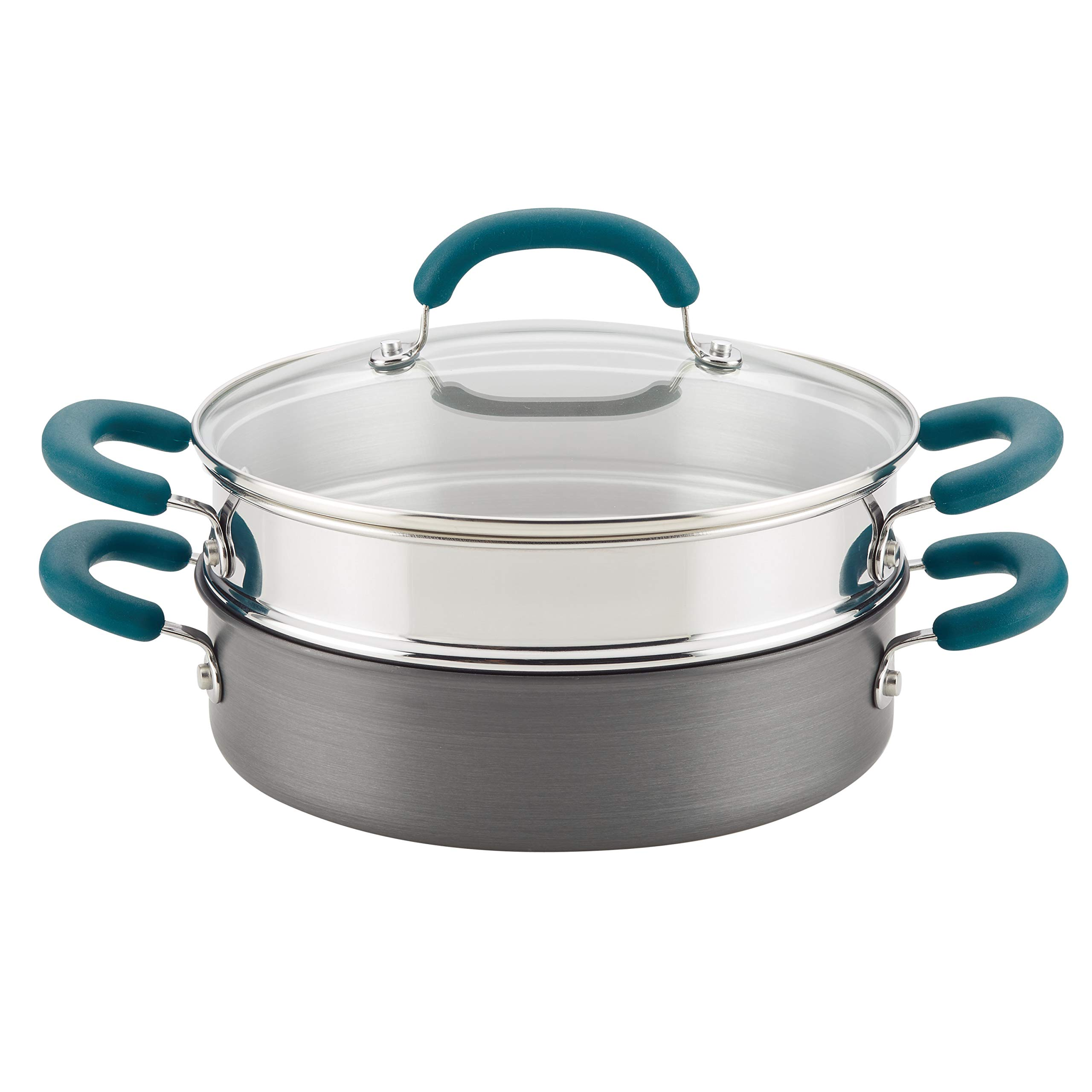 Rachael Ray 81151 3-Piece Hard Anodized Aluminum Steamer Set, Gray With Teal Handles