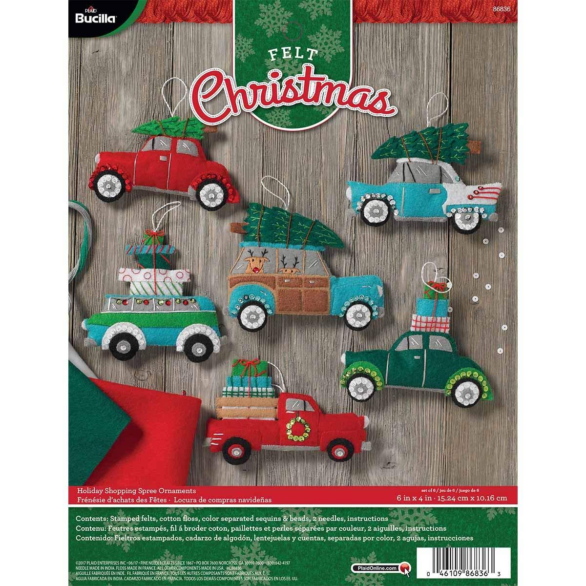 Bucilla 86836 Felt Applique Kit, Holiday Shopping Spree 6 Piece by Bucilla