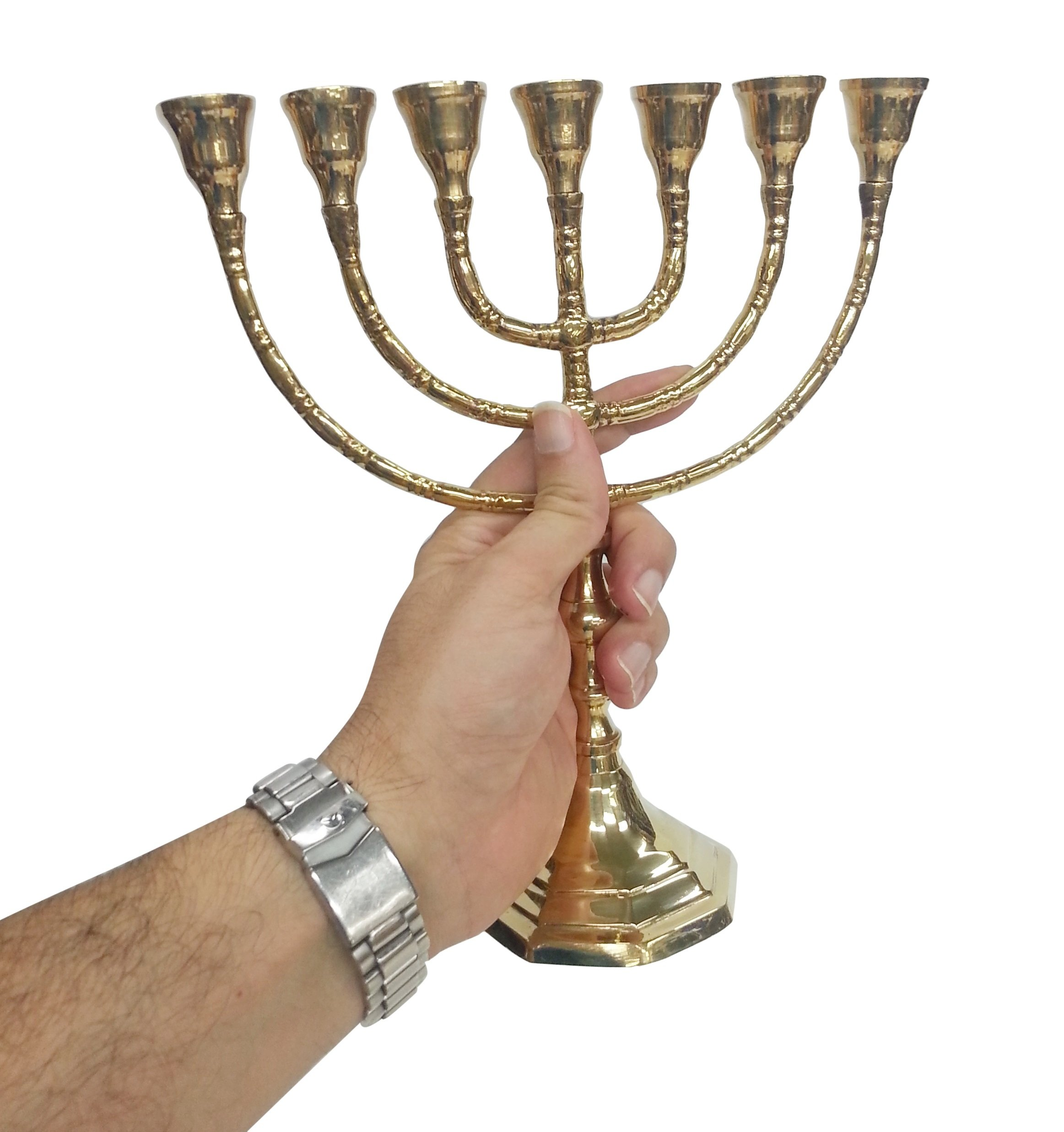 7 Branches Brass Menorah - 10 inches hight