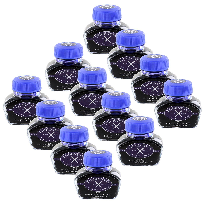 Thornton's Luxury Goods Fountain Pen Ink Bottle, 30ml - Blue - Set of 12