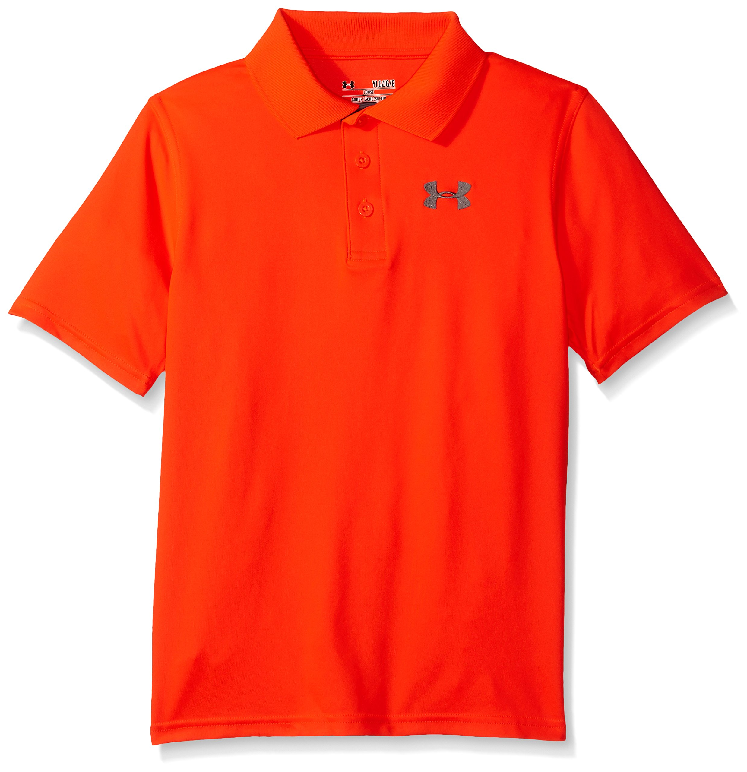 Under Armour Boys' Match Play Polo, Bolt Orange /Graphite, Youth X-Large