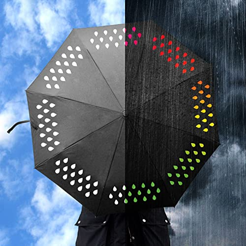 raindrops change colour from white to colourful in this colour changing umbrella