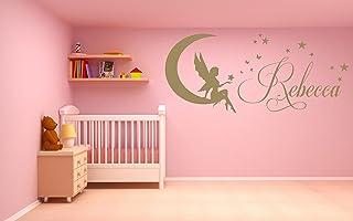 Nome personalizzato, Fata, Luna, Stelle, Adesivo artistico da parete in vinile, Murale, Decalcomania. Casa, Decorazione della parete, Camera da letto per bambini, Asilo nido