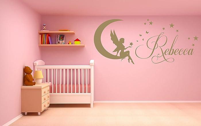 Decorazione Pareti Per Bambini : Nome personalizzato fata luna stelle adesivo artistico da parete