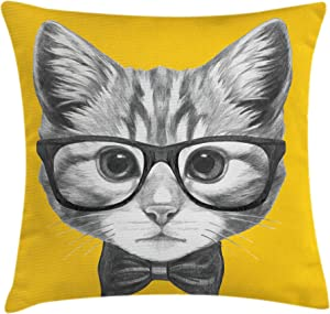 Ambesonne Animal Throw Pillow Cushion Cover, Sketchy Hand Drawn Design Baby Hipster Cat Kitten with Glasses Image Print, Decorative Square Accent Pillow Case, 18