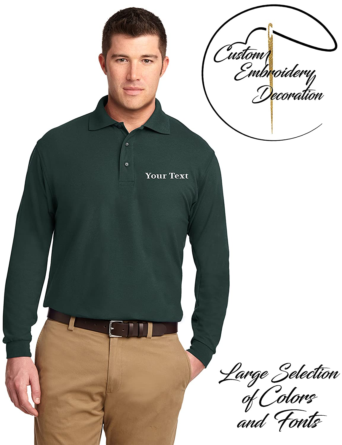 Custom Embroidered Mens Long Sleeve Shirts Personalized Embroidery