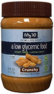 Fifty50 Foods Low Glycemic, No Added Sugar, Crunchy Peanut Butter, 18 Ounce