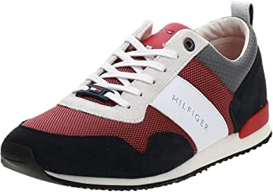 Tommy Hilfiger Mens Iconic Material Mix Runner Sneakers, Color: