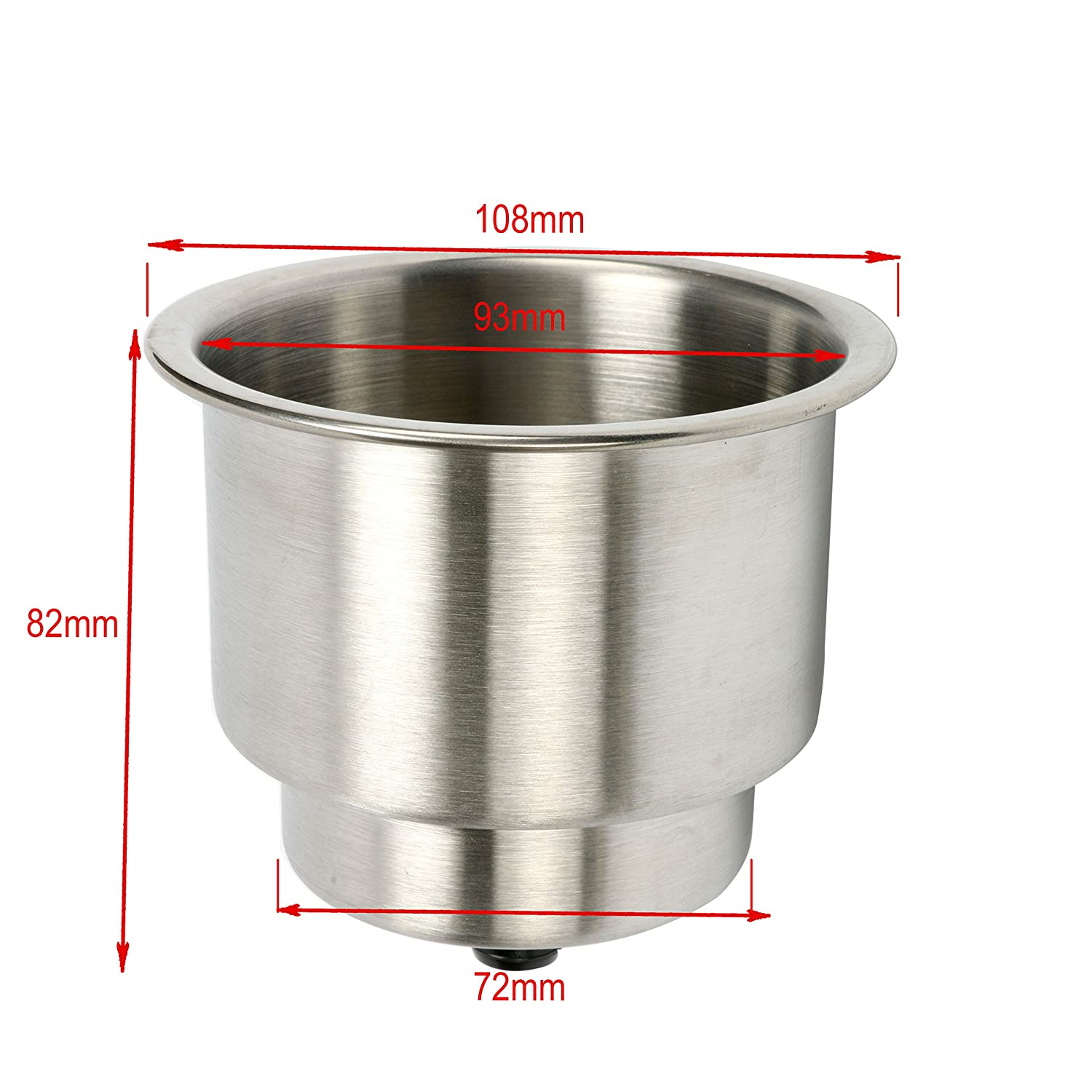 SeaLux 4pcs Stainless Steel Cup Drink Holder with Drain for Marine Boat RV Camper