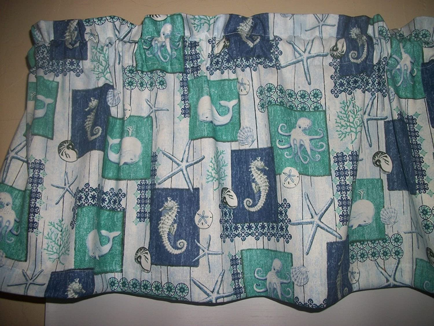 Amazon.com: Teal Blue Nautical Seahorse Whale Octopus Starfish ...