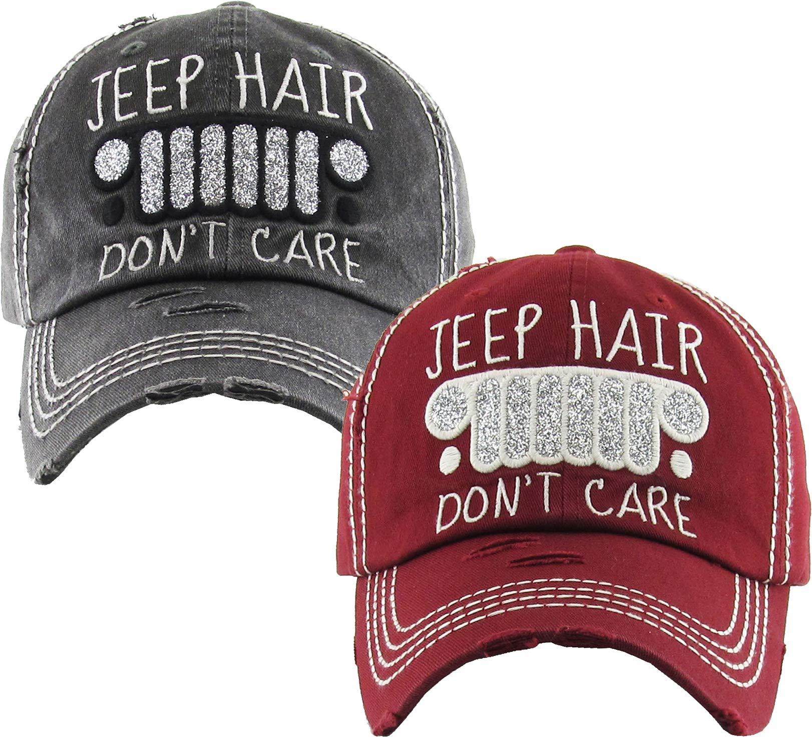 HB-212-2-JHDC0664 Baseball Cap Bundle - Jeep Hair Don't Care - Black & Burgundy