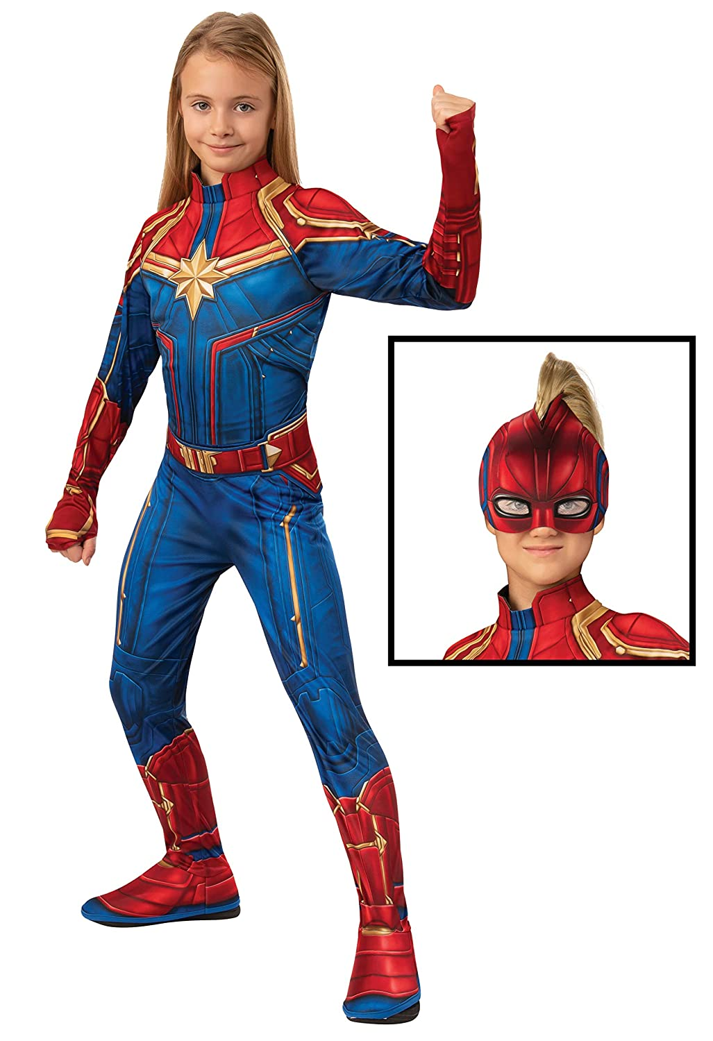 Captain Marvel Hero Costume Suit, Small Blue/Red