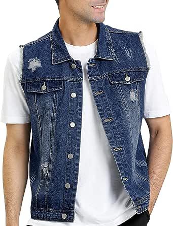 Lars Amadeus Men's Retro Ripped Denim Vest Sleeveless Punk Rock Trucker Jean Vest Jackets