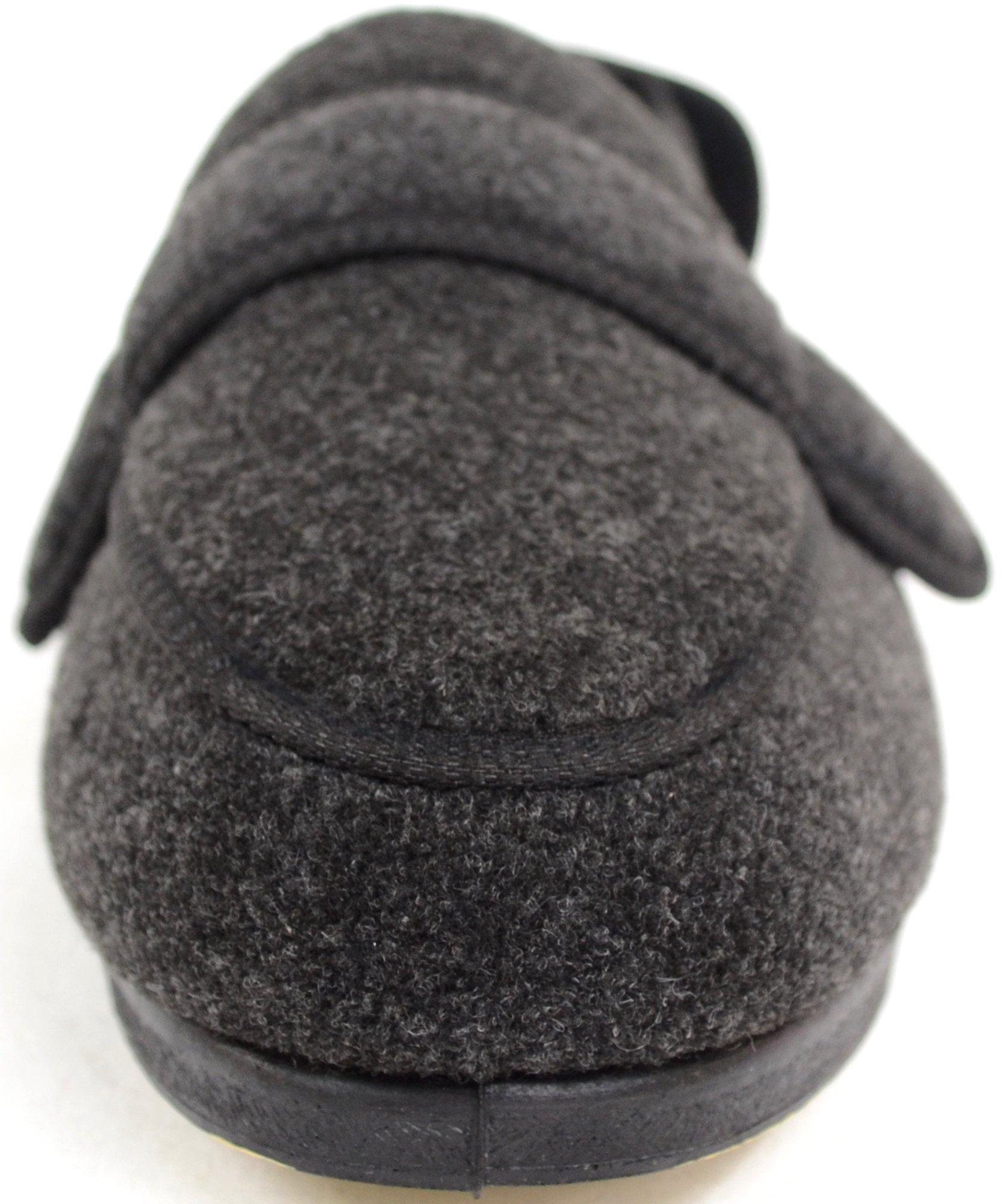 ABSOLUTE FOOTWEAR Mens Orthopaedic/Extra Wide Fit Adjustable Slipper Boot/Slippers - Grey - 10 US by ABSOLUTE FOOTWEAR (Image #2)