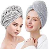 ELLEWIN Bamboo Hair Towel Wrap 2 Pack, Microfiber Hair Drying Shower Turban with Buttons,Super Absorbent Quick Dry Hair Towel