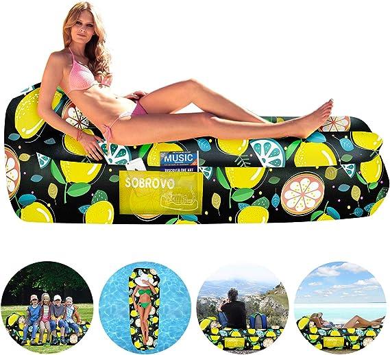 Amazon.com: Tumbona inflable portátil con bolsa inflable e ...