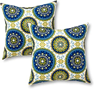 Greendale Home Fashions AZ4803S2-SUMMER Cobalt Medallion Outdoor 17-inch Square Throw Pillow (Set of 2)