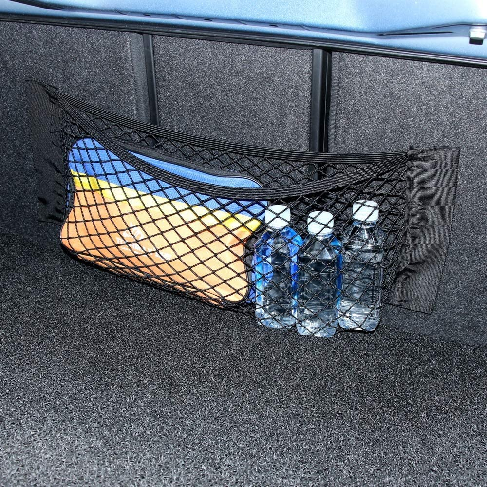 YangYe Car storage bag,Car Back Rear Trunk Seat Elastic String Net Magic Sticker Mesh Storage Bag Pocket Cage Auto Organizer Seat Back Bag 40 25cm Color Name : 60x25cm1pc