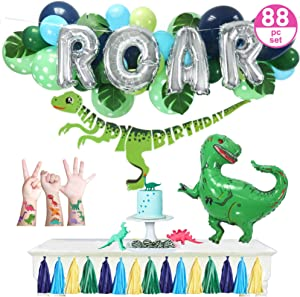 "Dinosaur Party Supplies – 88pc Little Dino Party Decorations Set, 30"" BIG T Rex, ROAR, Happy Birthday Banner, Tattoo Stickers, Jungle Theme Balloon Garland - Boys Girls Toddlers"