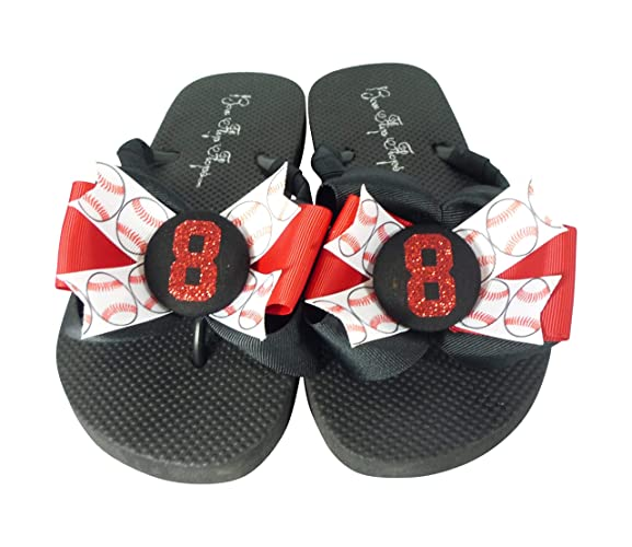 b916aa727c55ef Amazon.com  Red Glitter and Black Baseball Bow Flip Flops for Ladies and  Children - softball football soccer choose any sport  Handmade