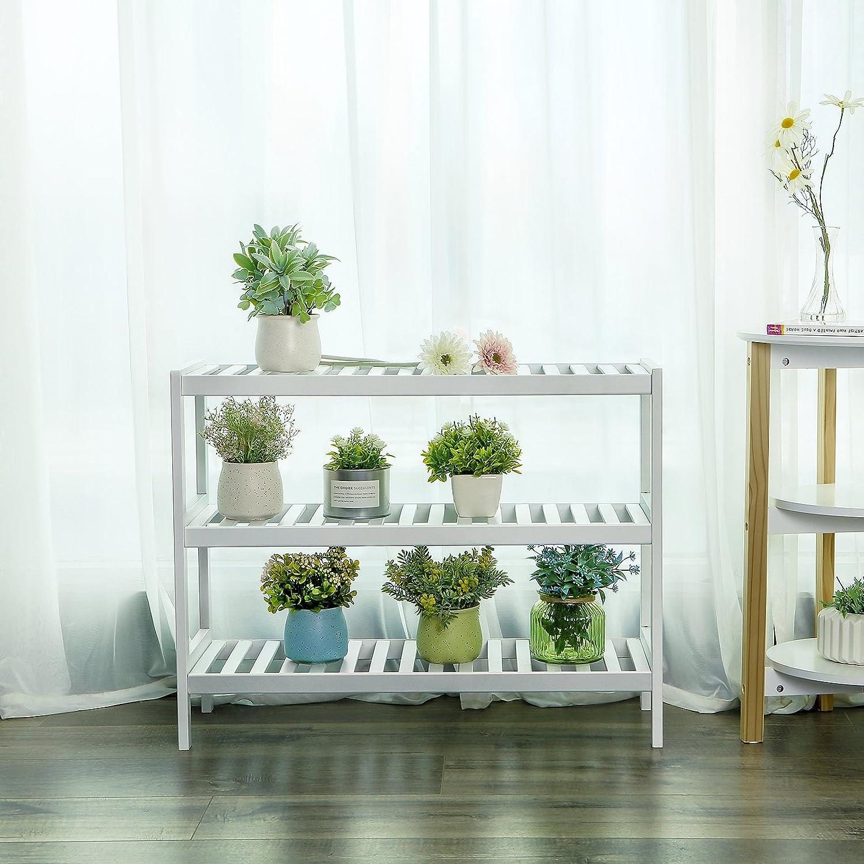 Organizador M/últifuncional de 3 Niveles Color Blanco LBS13W Estanter/ía para Zapatos 70 x 26 x 55 cm SONGMICS Zapatero de Bamb/ú