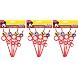 12-Pack Disney Mickey Mouse Red Silly Drinking Straws, Party Pack