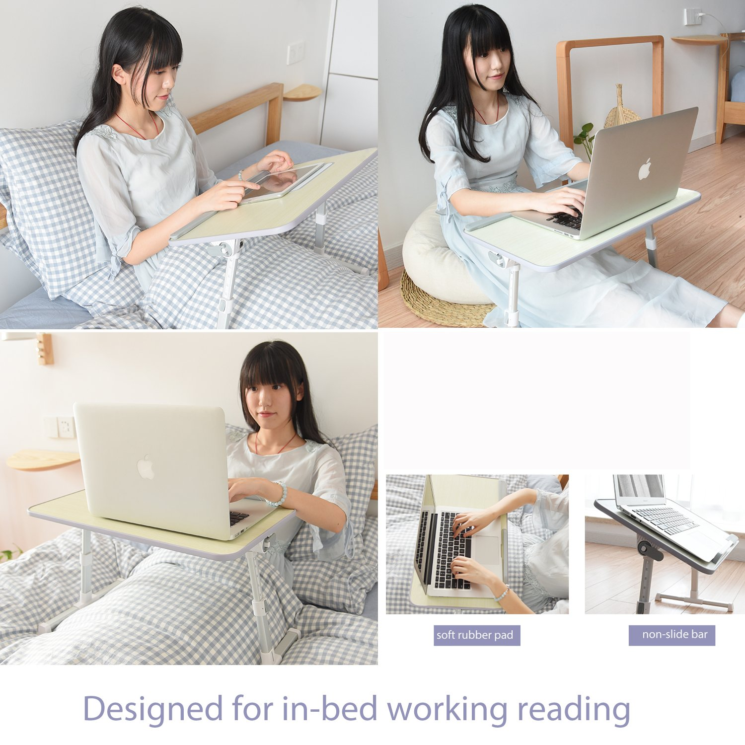 Adjustable Laptop Stand for Desk Bed Couch,Fit for 13-15inch Laptop,Foldable and Portable,Comfortable Ideal for Sit/Stand Lying Working by Aplomb (Image #4)