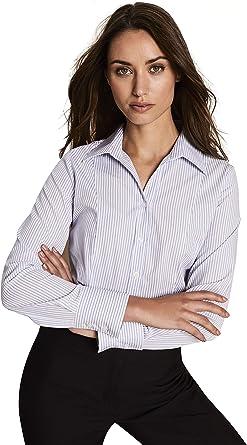 Camisa de Rayas de Manga Larga - Mujer 40 Blanco con Rayas ...