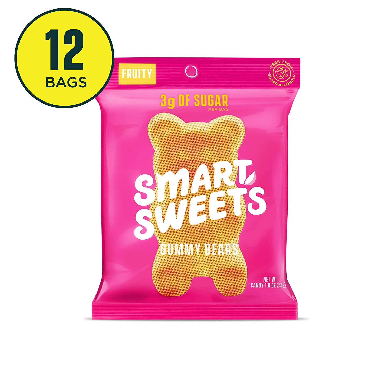 SmartSweets Gummy Bears Fruity 1.8 Oz, Candy With Low-Sugar (3g) & Low Calorie (90)- Free of Sugar Alcohols & No Artificial Sweeteners, Sweetened With Stevia, 12 Count