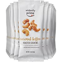 Amazon Brand - Wickedly Prime Roasted Cashews, Coconut Toffee, Snack Pack, 1.5 Ounce (Pack of 15)