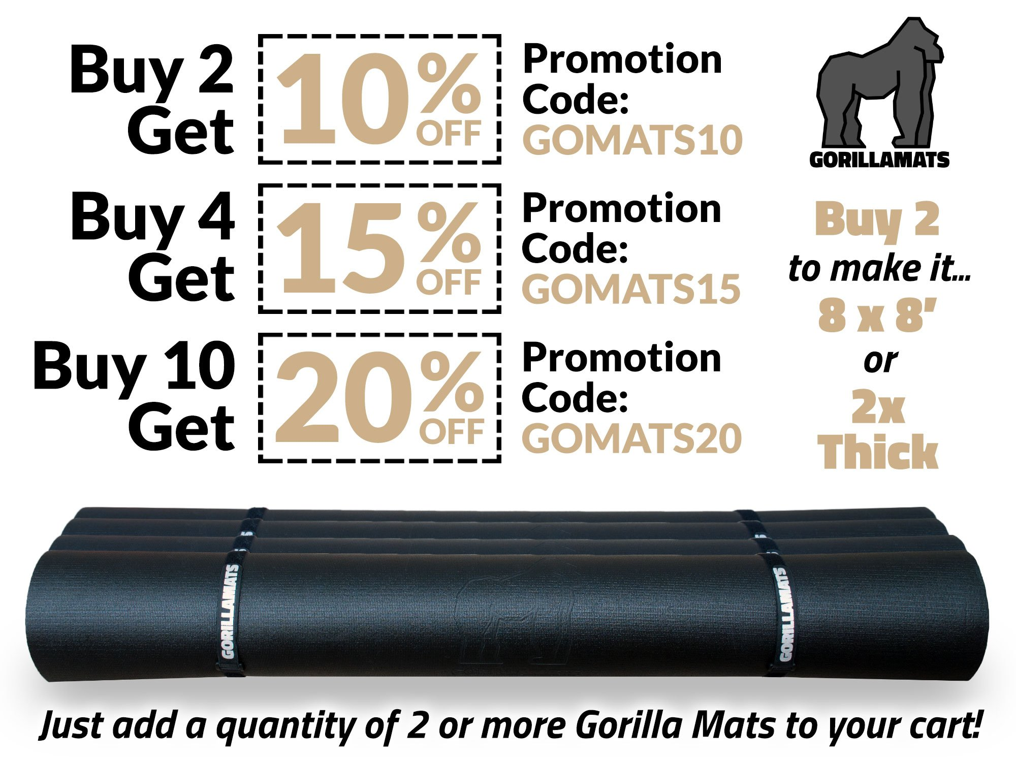 Premium Extra Large Exercise Mat - 8' x 4' x 1/4'' Ultra Durable, Non-Slip, Workout Mats for Home Gym Flooring - Jump, Cardio, MMA Mat - Use with or Without Shoes (96'' Long x 48'' Wide x 6mm Thick) by Gorilla Mats (Image #7)