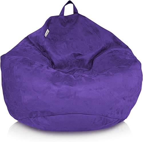 Delmach Bean Bag Chair Cover No Filler | Bird's Nest Shape | Adult Size | Microsuede | Stuffed Animal Storage