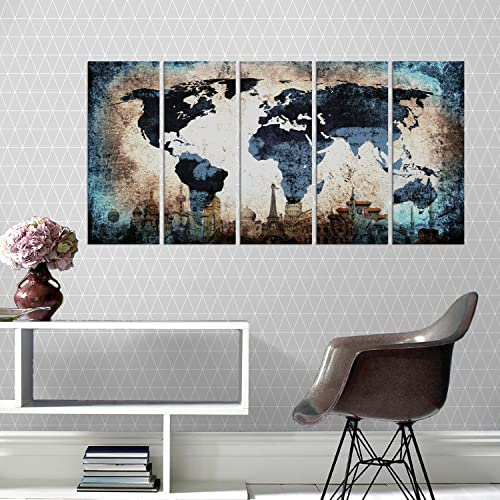 Navy Blue World Map Home Decor Canvas Print Set 5 Pieces Multi Panels Wall Decal Framed Large Abstract Art Qn91