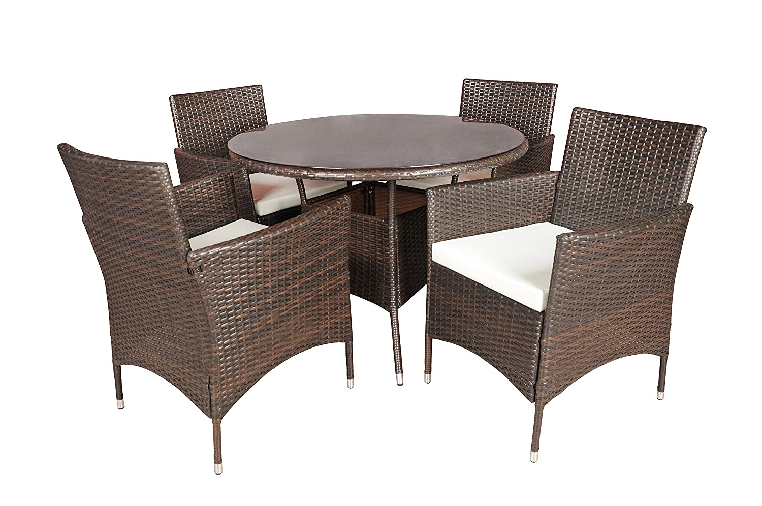 Super Outdoor Patio Table And Chairs Dining Furniture Set Brown Download Free Architecture Designs Aeocymadebymaigaardcom