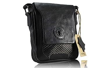c55cd601cd FERETI petit sac besace homme cuir noir carbon fibre 3D lion: Amazon ...