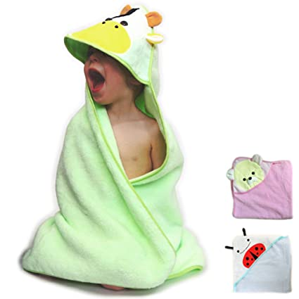 HOODED BABY TOWEL 100% Cotton Premium Quality Super Soft and Cute Animal Hood Towel - Perfect For Baby Shower Gift GREEN COW - 1 PIECE