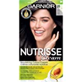 Garnier Nutrisse Cream Hair Color, 20 Soft Black Permanent Hair Dye with Shea, Olive and Avocado Oil, 100% Grey Coverage…
