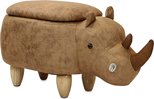 Critter Sitters Brown 15 Seat Height Animal Rhino-Faux Leather Look-Durable Legs-Storage for Nursery, Bedroom, Playroom Living Room-D cor Ottoman
