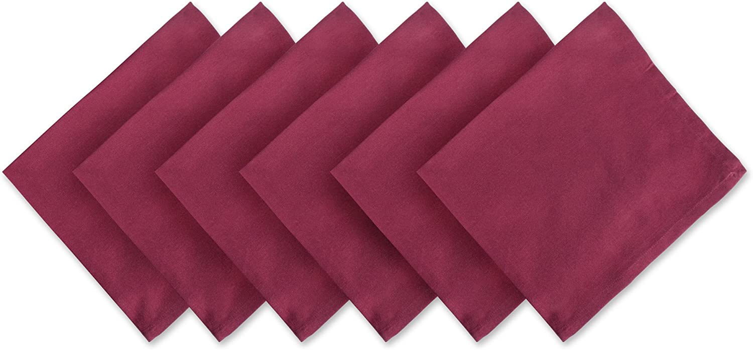 DII Solid Napkin Set Collection, 20x20, Wine