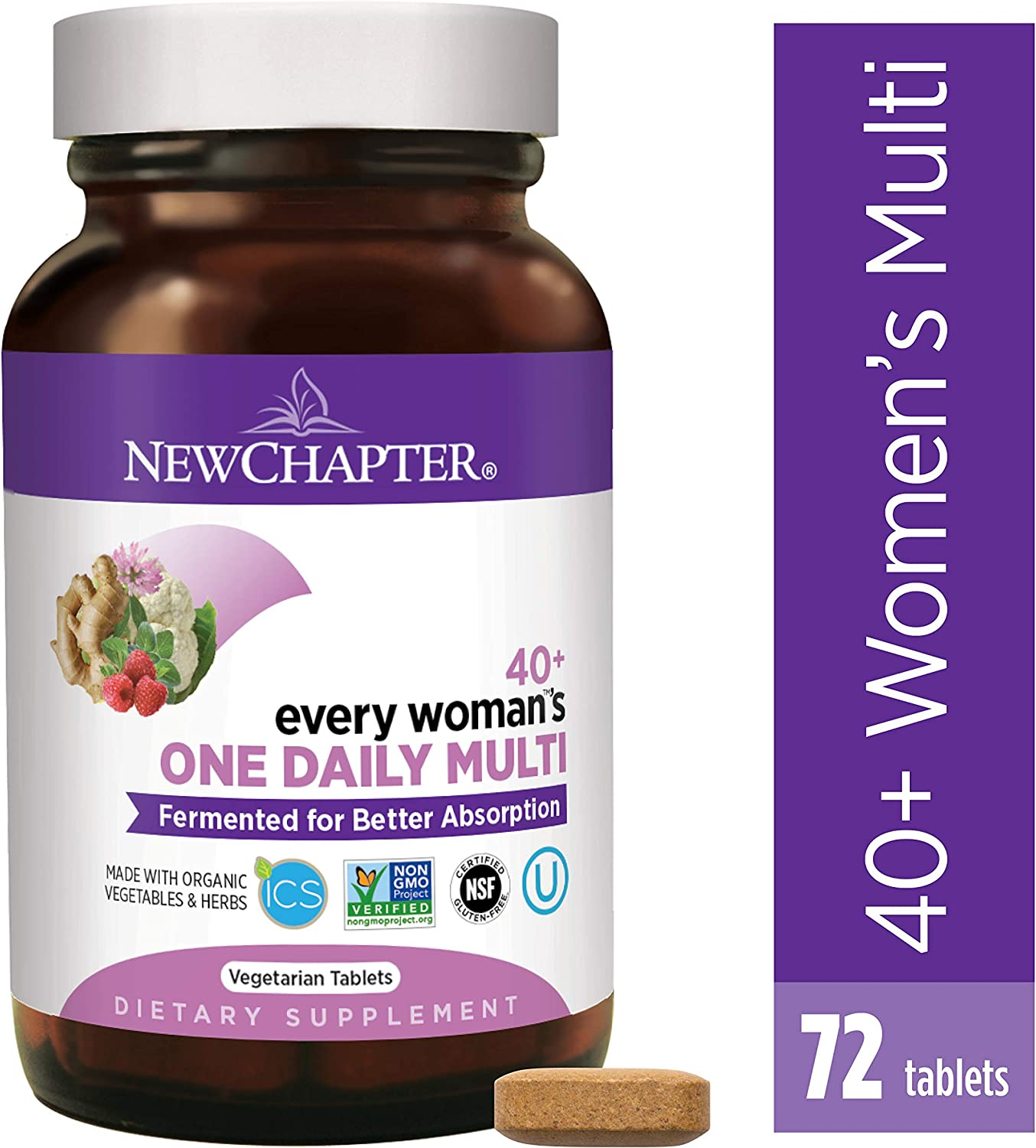 New Chapter Women s Multivitamin, Every Woman s One Daily 40 , Fermented with Probiotics Vitamin D3 B Vitamins Organic Non-GMO Ingredients – 72 ct Packaging May Vary
