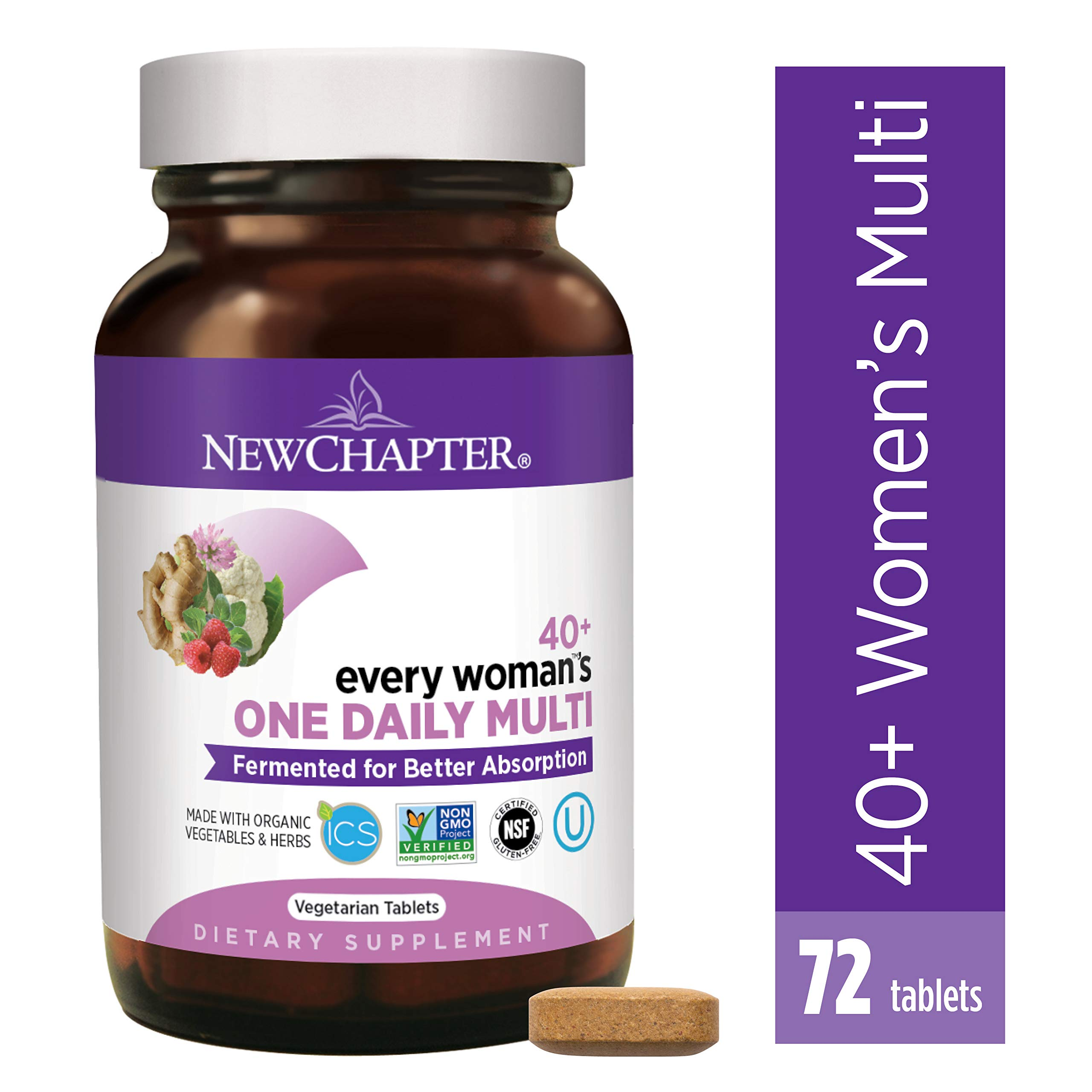 New Chapter Women's Multivitamin, Every Woman's One Daily 40+, Fermented with Probiotics + Vitamin D3 + B Vitamins + Organic Non-GMO Ingredients - 72 ct (Packaging May Vary) by New Chapter
