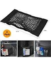 2 Pack Car Back Rear Trunk Seat Magic Sticker Elastic String Net Mesh Storage Bag Pocket Cage Organizer