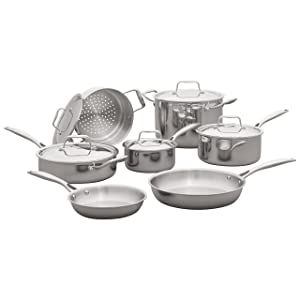 Stone & Beam Tri-Ply Stainless Steel Cookware Set, 12-Piece