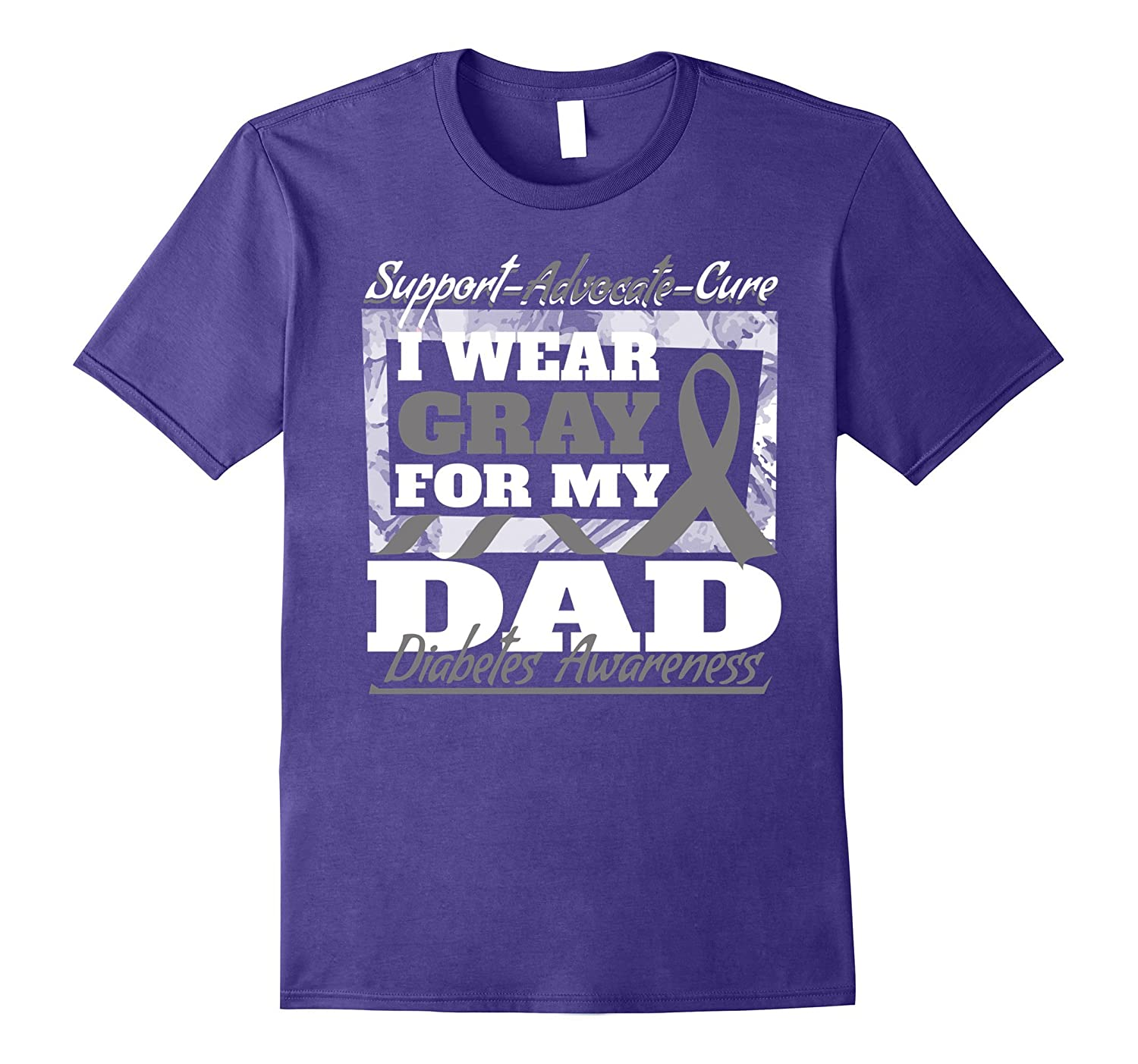 I Wear Gray For My Dad Diabetes Awareness Shirt Ribbon-T-Shirt