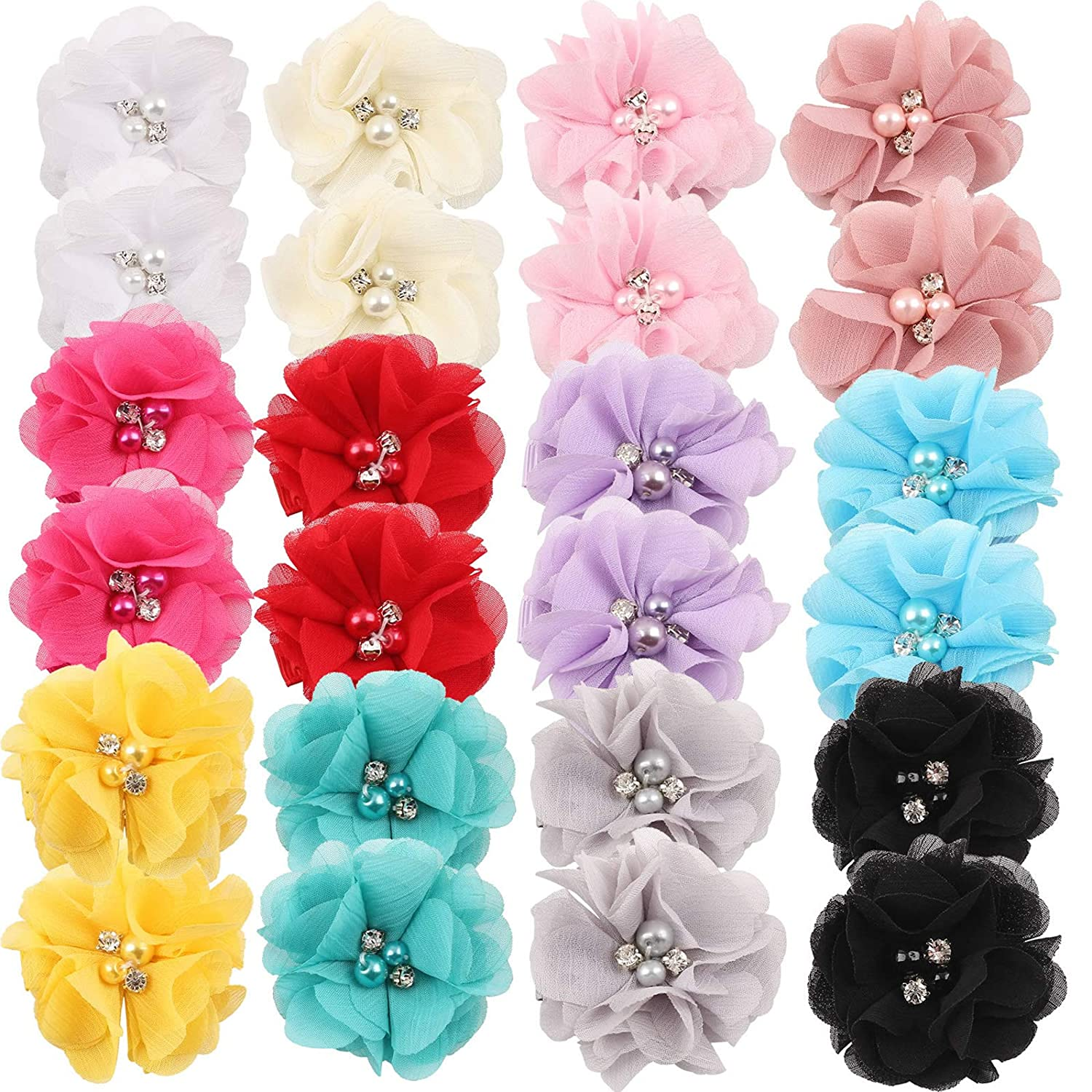 "inSowni 2"" Alligator Hair Clips Barrettes Chiffon Flower Bow with Rhinestone Pearl for Baby Girl Toddlers"