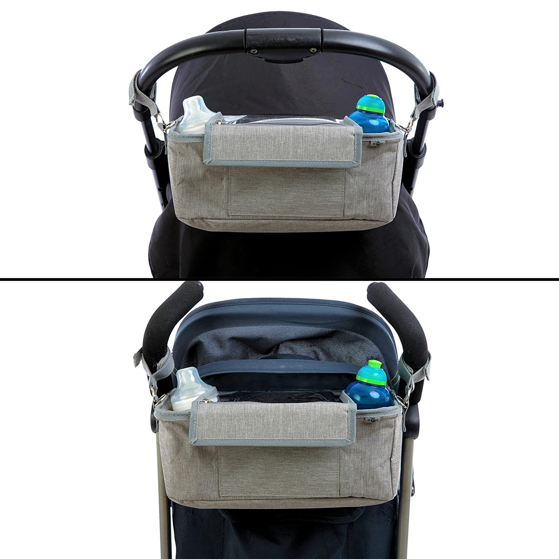 Bolso bolso para bebe // organizador para cochecito o silla de paseo gris de BTR BTR bolsa carro bebe con bolsillo exclusivo para el tel/éfono m/óvil con solapa 2 ganchos para el cochecito gratuitos